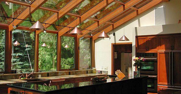 Wood Straight Eave Sunroom Interior