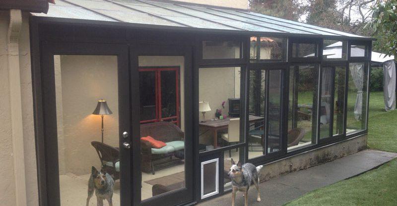 Straight Eave Sunroom with Pet Door